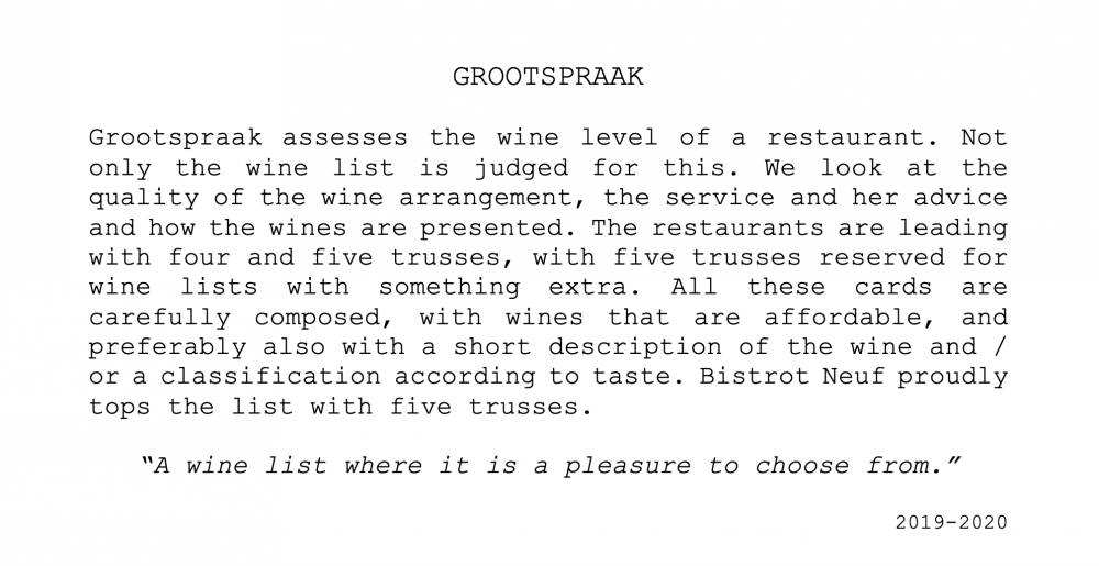 Grootspraak Wines Bistrot Neuf